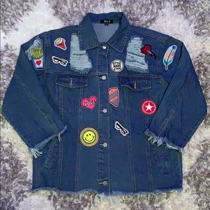Oversized Patch Denim Jacket